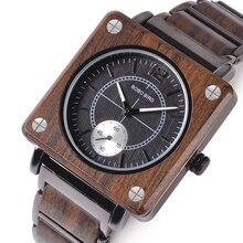 Marque de luxe БОБО Птица Деревянный Для мужчин квадратный кварцевые часы Лакшери индивидуальные, деревянные часы Подарки для Для мужчин