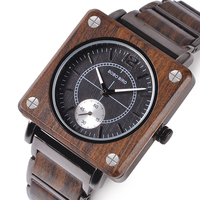 marque de luxe BOBO BIRD Wooden Men Square Watches Luxury Quartz Personalized Wood Watch Gifts for Men