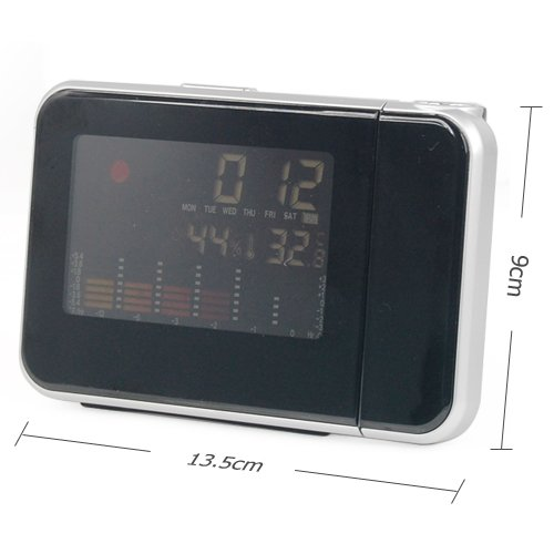 New Digital Weather Temperature Humidity Wall Projection Snooze Alarm Clock LED Display