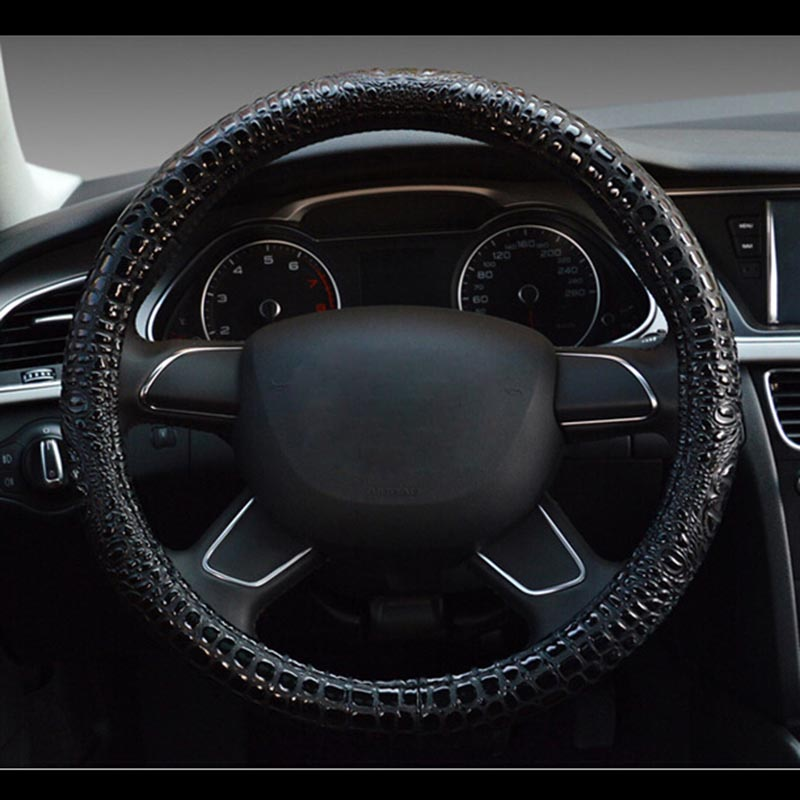 Luxury crocodile grain leather car steering wheel cover universal sport steering-wheel covers case for auto accessories