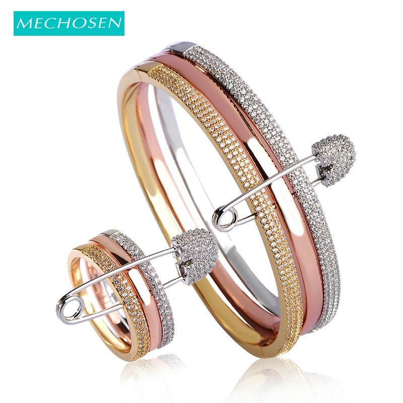 Meselected nouveaux ensembles de bijoux de mariée Bracelets bagues pour femmes couleur or Rose zircone Bracelets cuivre Anillo Bijouterias de mariage