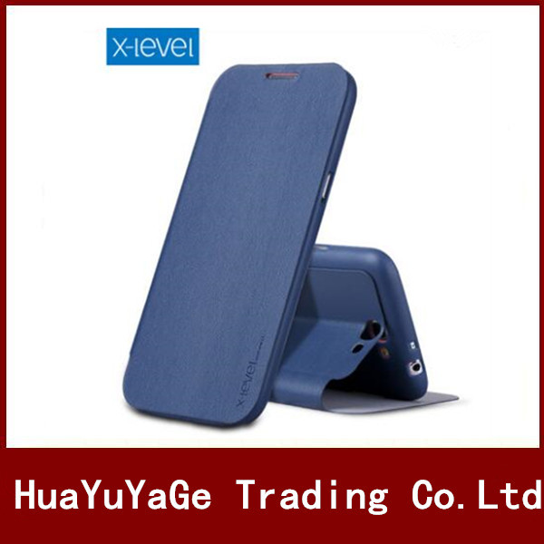 Téléphone Cas X-Niveau ultra mince Anti-chute Flip En Cuir PU + TPU Cas de Stand de Couverture Pour Samsung Galaxy Note 2 N7100 Note 3 N9000