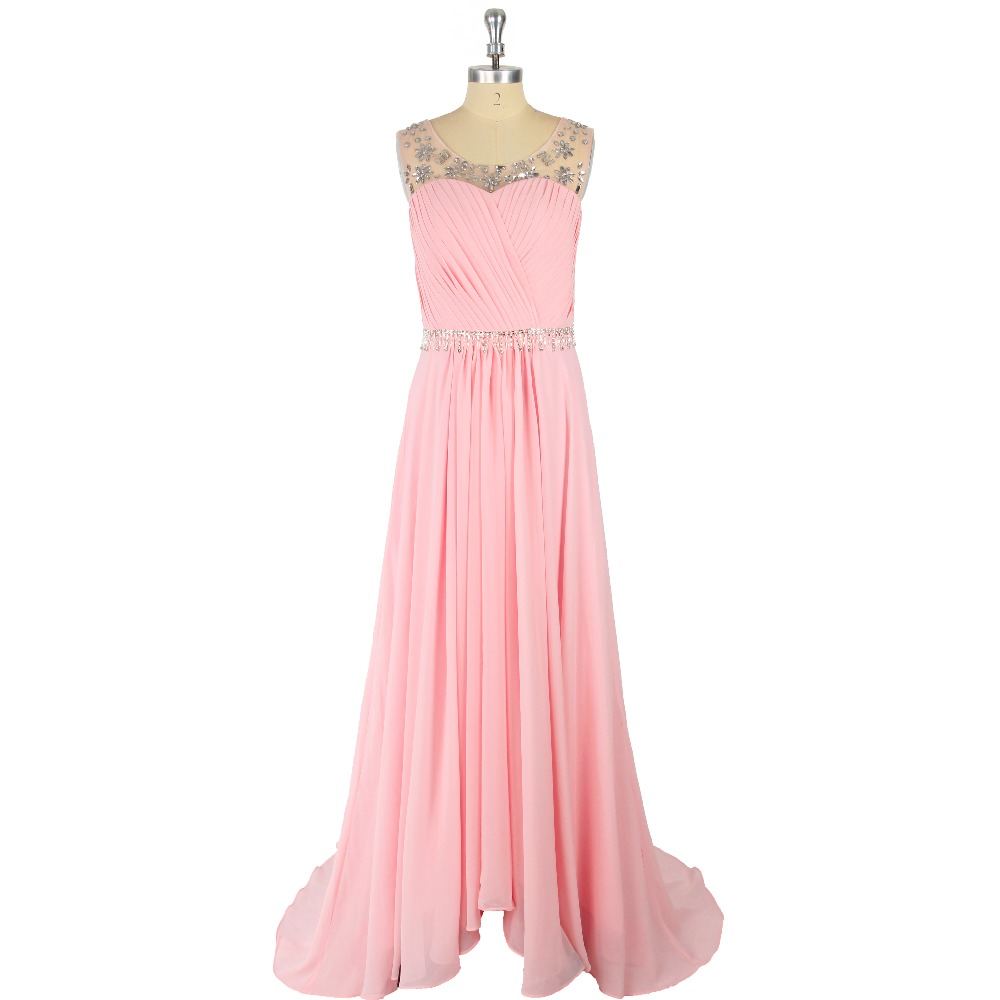 Pink Crystal Ruched Chiffon A-Line Scoop Sweep Train Zipper   Prom     Dress   Formal Event