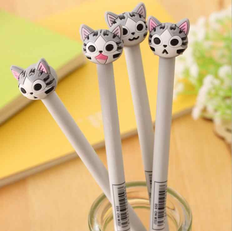 1 Stuks Briefpapier Cartoon Leuke Kawaii Kaas Kat Gel Pen Creatieve School Office Supply Handgrepen Sweet Pretty Mooie Anime