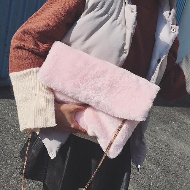 2017 Зимние новые сумки корейской версии из высококачественного плюша конверт мешок большой емкости клатч цепи женская сумка