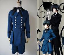 2015 New Black Butler Ciel Phantomhive Cosplay Costume Adult Unisex Blue Uniform Custom Made In Any Size