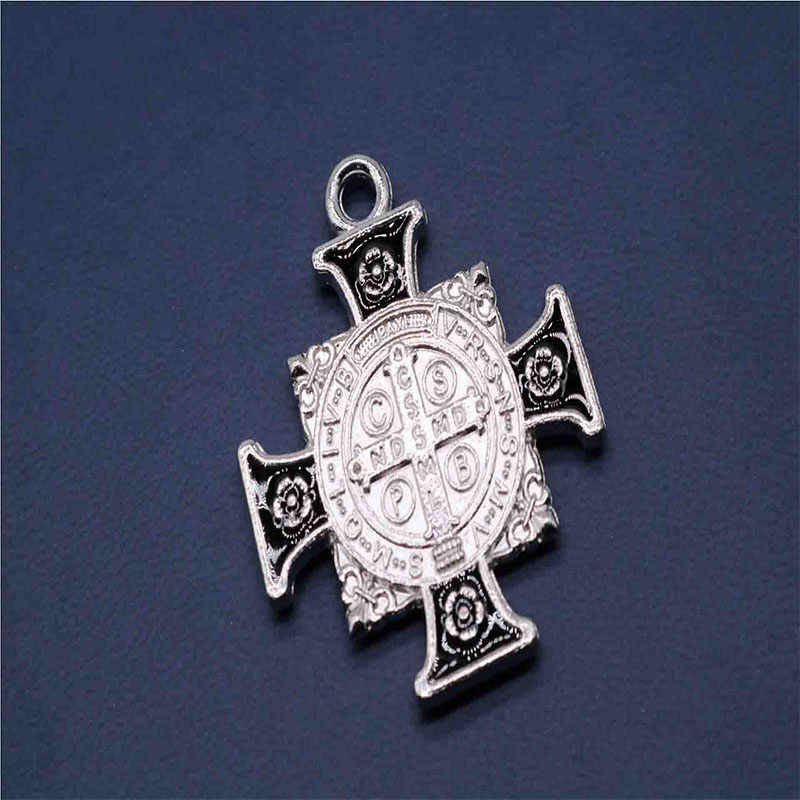 Factory direct ze stopu cynku urok świętego benedykta moda medal, religijny urok biżuteria medal