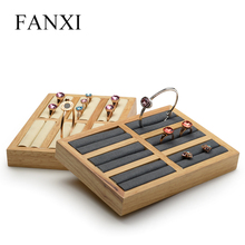 FANXI Solid wood Cream-white&Dark gray 6 seats Bangle Display Props with Microfiber for Exhibition Jewellry Bangle&Ring Holder