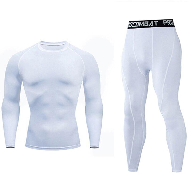 Новый мужской костюм для пробежки, белая рубашка, брюки, компрессионная футболка с длинным рукавом, сухая футболка, штаны для спортзала, 2 шт., костюм Union, Рашгард, мужскойСпортивные костюмы   -