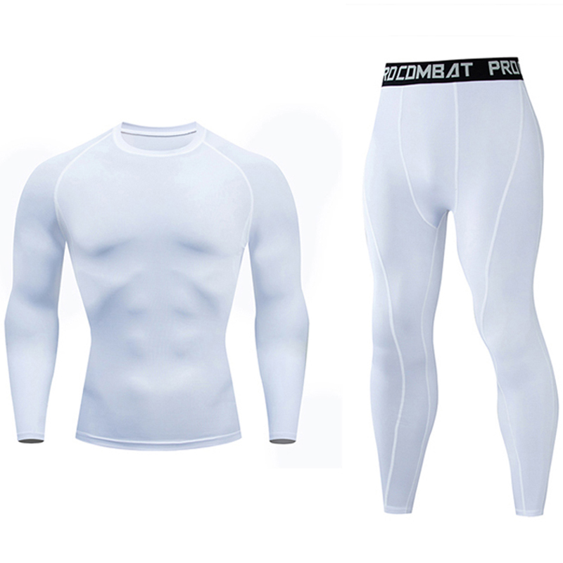 New Men's Jogging Suit White Shirt Trousers Compression Long Sleeve Dry Fit T Shirt Gym Pants 2 Pieces Union Suit Rashgard Male