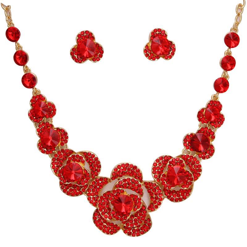 MINHIN Red Flower Jewelry...