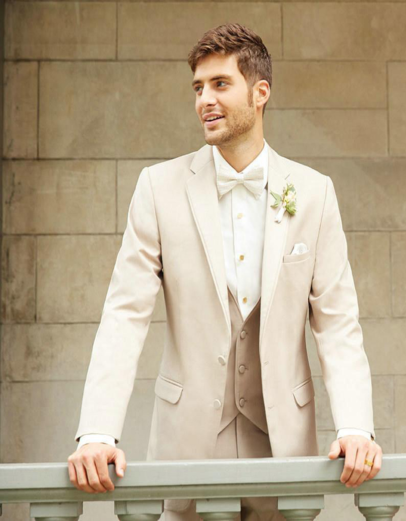 Three Pieces Wedding Men Suits In Color Beige Good Quality 3 Notch Lapel Prom Tuxedos For Jacket Trousers Vest Bow From S Clothing