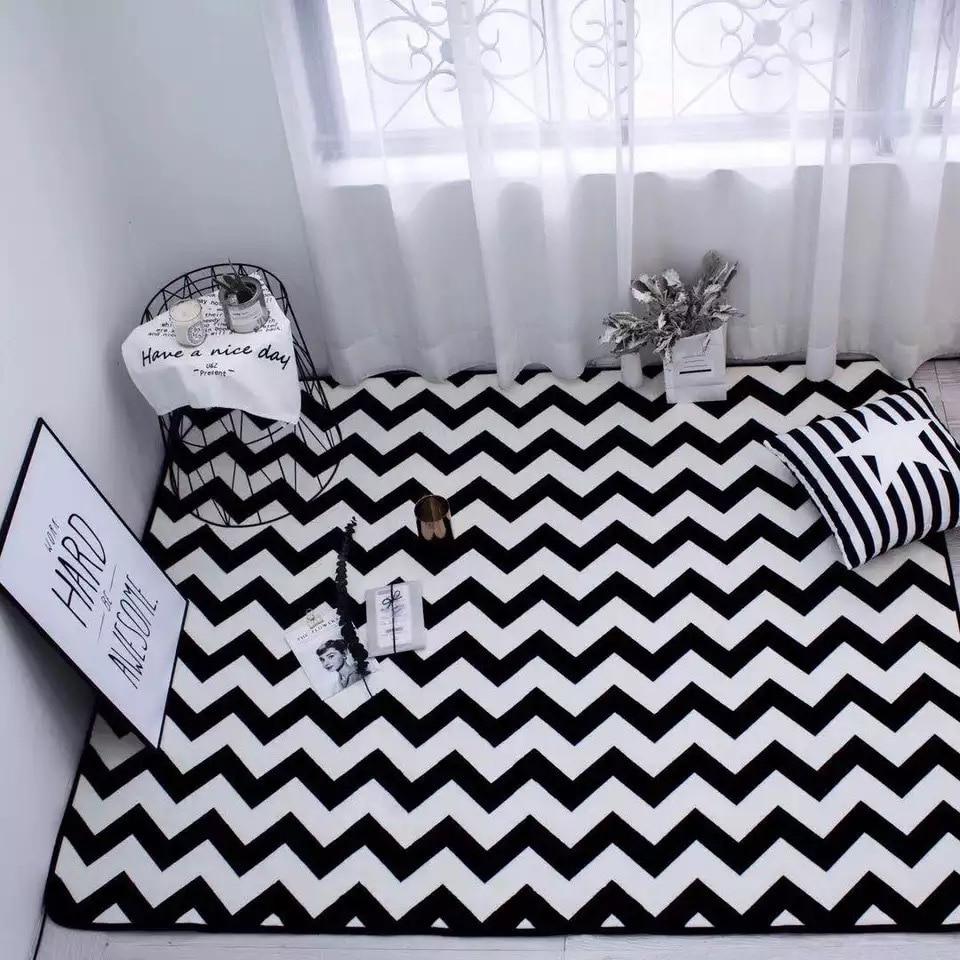 European Style Simple Black White Ripple Personalized Living Room Bedroom Coffee Table Mat Yoga Mat Non-slip Mat Home Decor