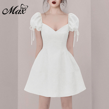 Max Spri 2019 New Fashion Sweet Girl V Neck Puff Lace-Up Short Sleeves Slim Fit Waist A-Line Women Party Dress White