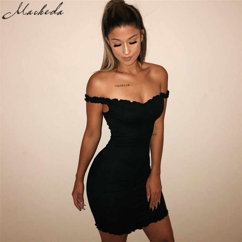 2afda43123b1 ... Macheda Ruffles Solid Sling Summer Tight Dresses Sleeveless 2018 New  Bodycon Short Dress Solid Color Sexy ...
