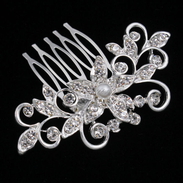 TREAZY Pretty Animal Leaf Flower Designs Sparkly Crystal Imitation Pearls Bridal Hair Combs Tiara Women Wedding Hair Accessories