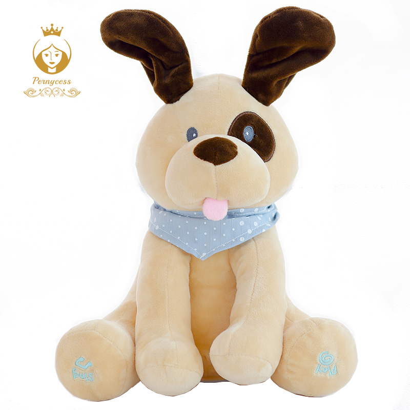 30cm Stuffed Plush Animal Hot Electric Puppy Dog Play Hide Seek Cute Cartoon Toys For Children Kids Birthday Gift