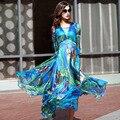 A1235137 dress mujeres al por mayor 2017 nueva marca de las señoras de la gasa de seda bohemia beach dress