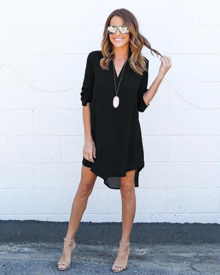 Short Summer Fashion Beach Dress - Long Sleeve Women Casual Dress 2