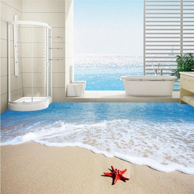 Pvc Boden Badezimmer | Beibehang Meer Strand Seestern Wellen Nach 3d Boden Tapete