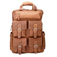 New men's leather backpacks male genuine leather backpack 100% cowhide travel mountaineering bag fashion Laptop