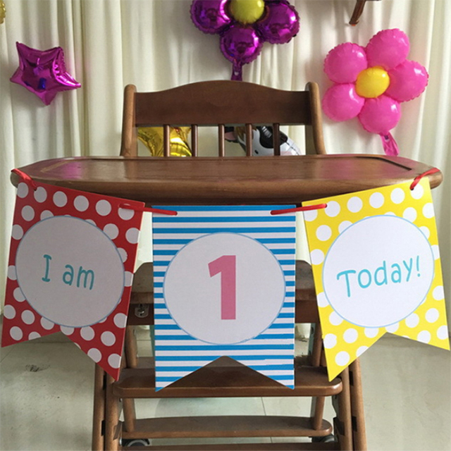 3 Pieces Set 15M Childrens 1st Birthday Party High Chair Decorating Kit Baby Shower Room Decoration Banner Bunting
