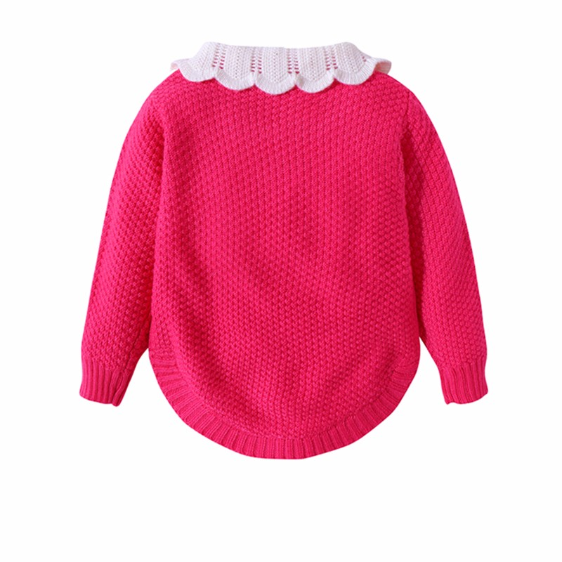 Cotton Girls Sweaters Solid Long Sleeve Clothes Knit Pullover Outerwear With Bows Warm Children Top Autumn Winter Kids Sweater (10)