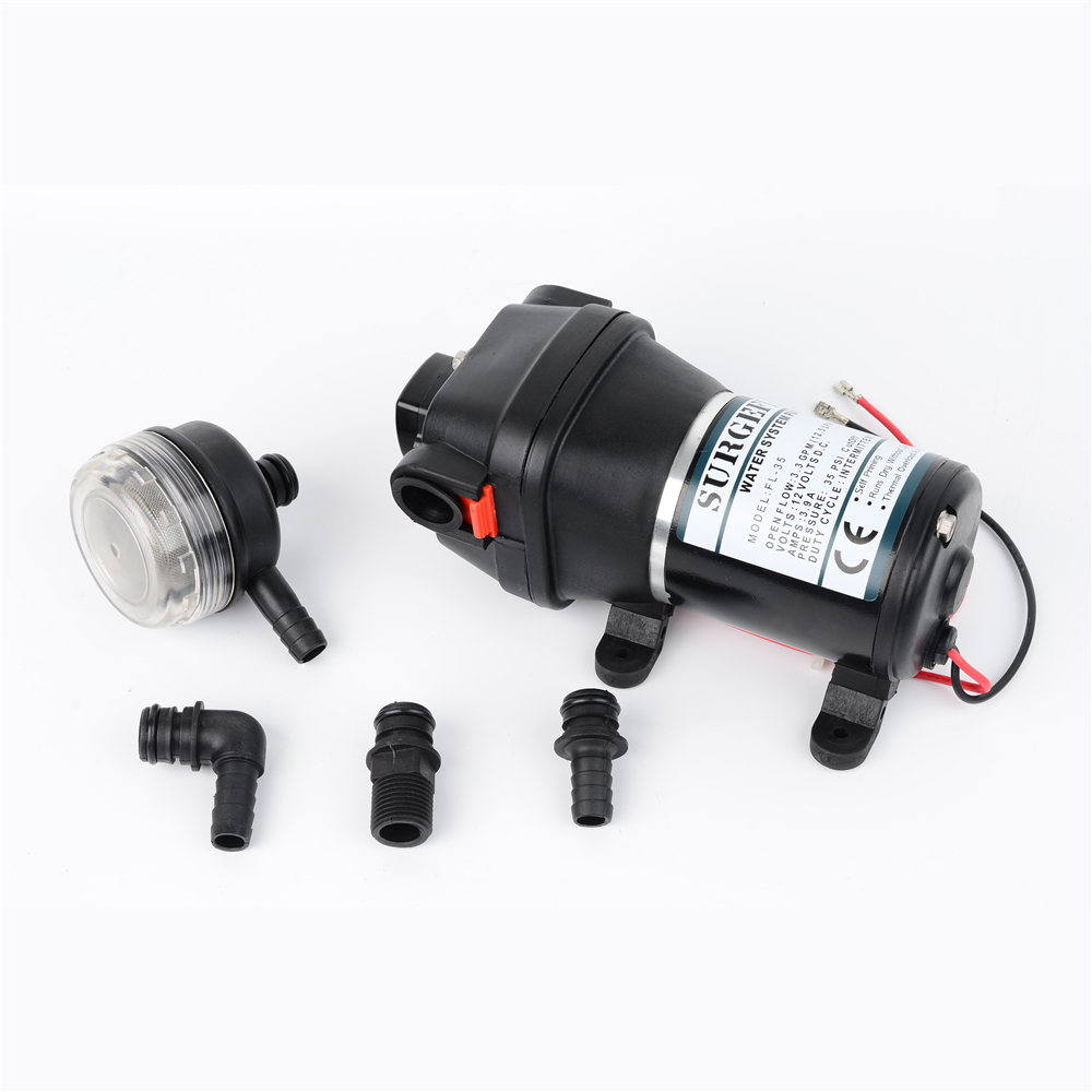12V 24V 120W 35PSI Lift Max 20m DC Micro Diaphragm Pump Irrigation Motorhome RV Car Water Supply Booster Water Pump FL-34 FL-35