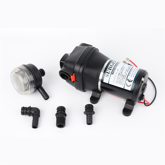 12V 24V 120W 35PSI Lift Max 20m DC Micro Diaphragm Pump Irrigation Motorhome RV Car Water Supply Booster Water Pump FL-34 FL-35