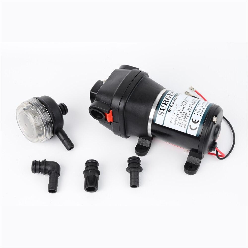 12V 24V 120W 35PSI Lift Max 20m DC Micro Diaphragm Pump Irrigation Motorhome RV Car Water Supply Booster Water Pump FL 34 FL 35
