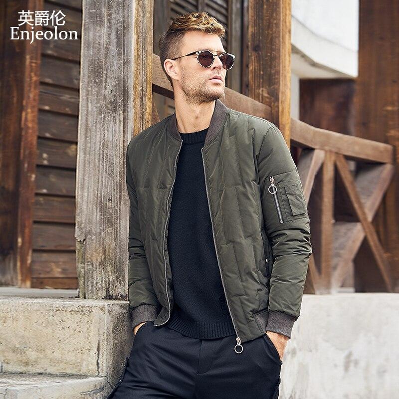 Enjeolon brand winter thick winter   down   jacket men light parka   coat   male warm parka   coat   3XL   down   parka YR0122