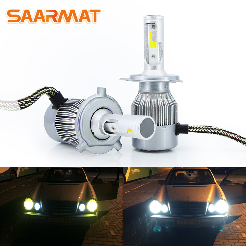 цена на LED Dual-Colors White Yellow H1 H3 H4 9003 HB2 H7 H8 H9 H11 H16(JP) 9005 HB3 H10 9006 HB4 9012 HIR2 Car Headlight Fog Bulb DRL