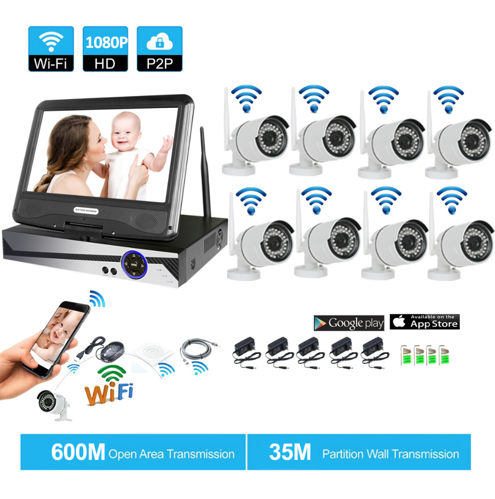 Wireless Surveillance System Network 10.1 LCD Monitor NVR Recorder Wifi Kit 8CH 1080P HD Video Inputs 2.0MP Security Camera