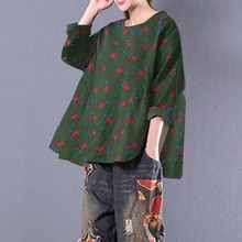 2019 ZANZEA Women Summer Floral Print Blouse Casual Loose Shirt Chemise Femme Long Sleeve 5 Colors Blusa Femminina Top Plus Size