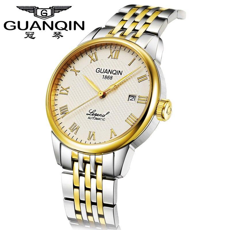 Luxury Brand Men Watch GUANQIN Mechanical Watch Sapphire Gold Steel Watch Men Waterproof Mens Wristwatches Relogio Masculino стоимость