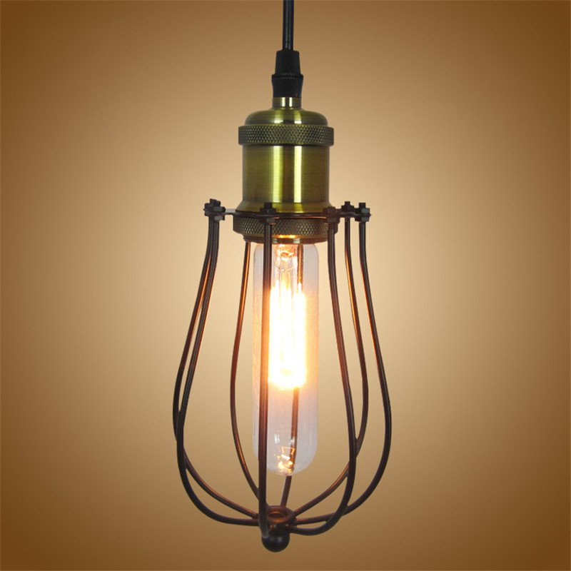 Retro Loft Industrial Wind Pendant Light Vintage Edison Lamp Hanging E27 Iron Cage Pendant Lamp For Home Decor Restaurant edison loft style vintage industrial retro pendant lamp light e27 holder iron restaurant bar counter attic bookstore lamp