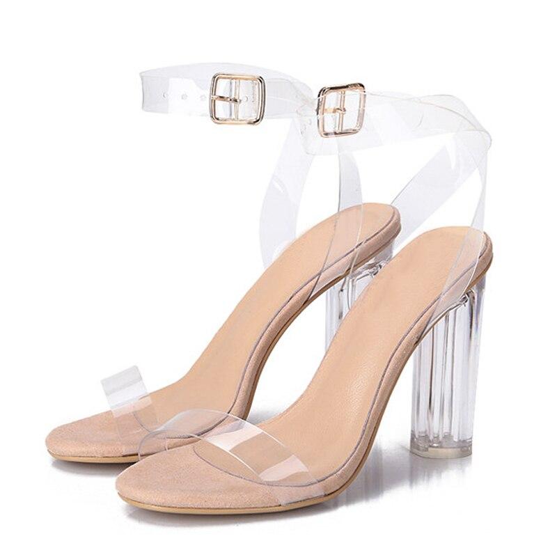 Transparent clear high heels plastic material sandals pvc shoes