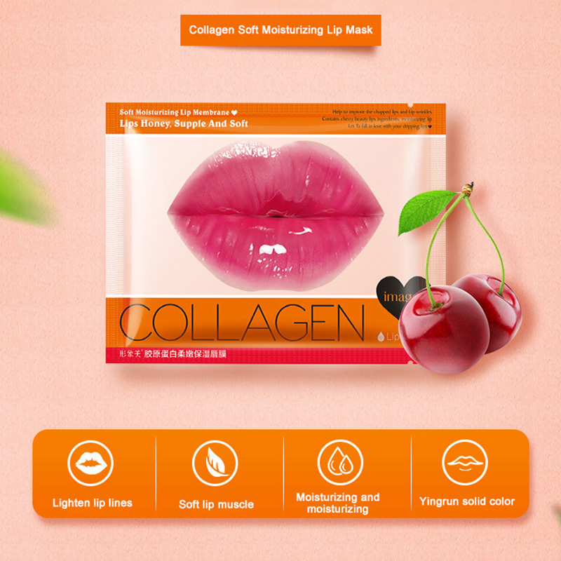 Images Collagen Moisturizing Essence Lip Mask Sheet Anti Drying Desalination Lip Pattern Pink Crystal New Lip Care Beauty Mask in Lips from Beauty Health