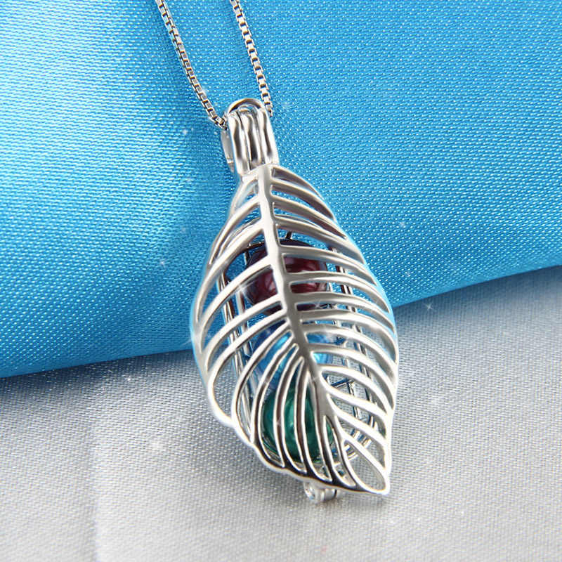 CLUCI Real Silver 925 Leaf Shaped Charms Pendant for Women Jewelry Making 925 Sterling Silver Cage Pendant Pearl Locket