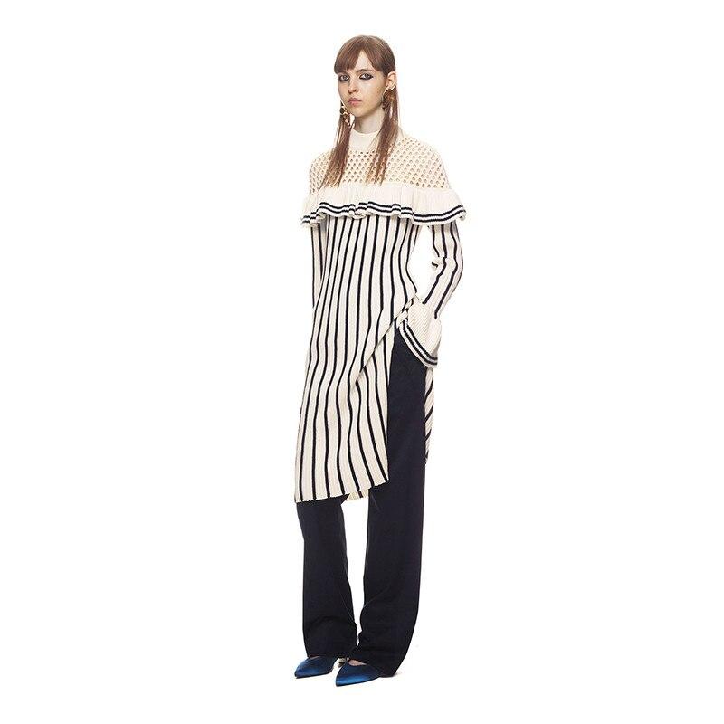 2017 winter beige knitted long dress striped female dresses бра sland катрин beige
