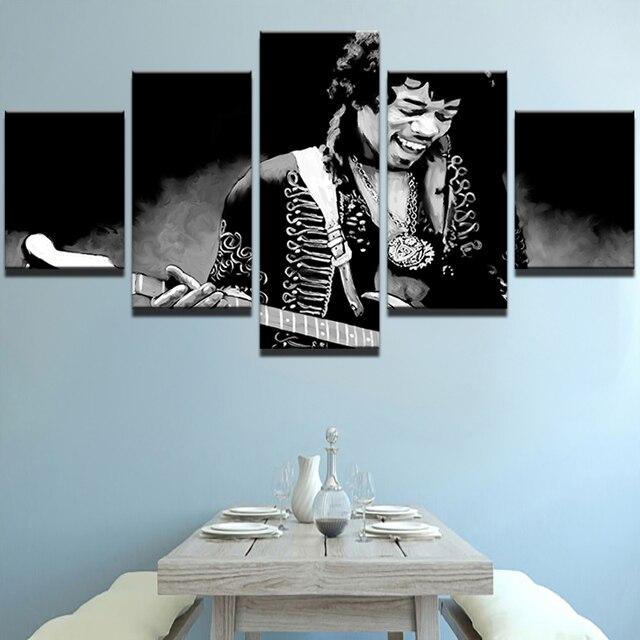 Moderne Auf Der Wand Kunst Modularen Bilder 5 Panel Gitarre Rock Band Musik Fr Wohnzimmer Wohnkultur