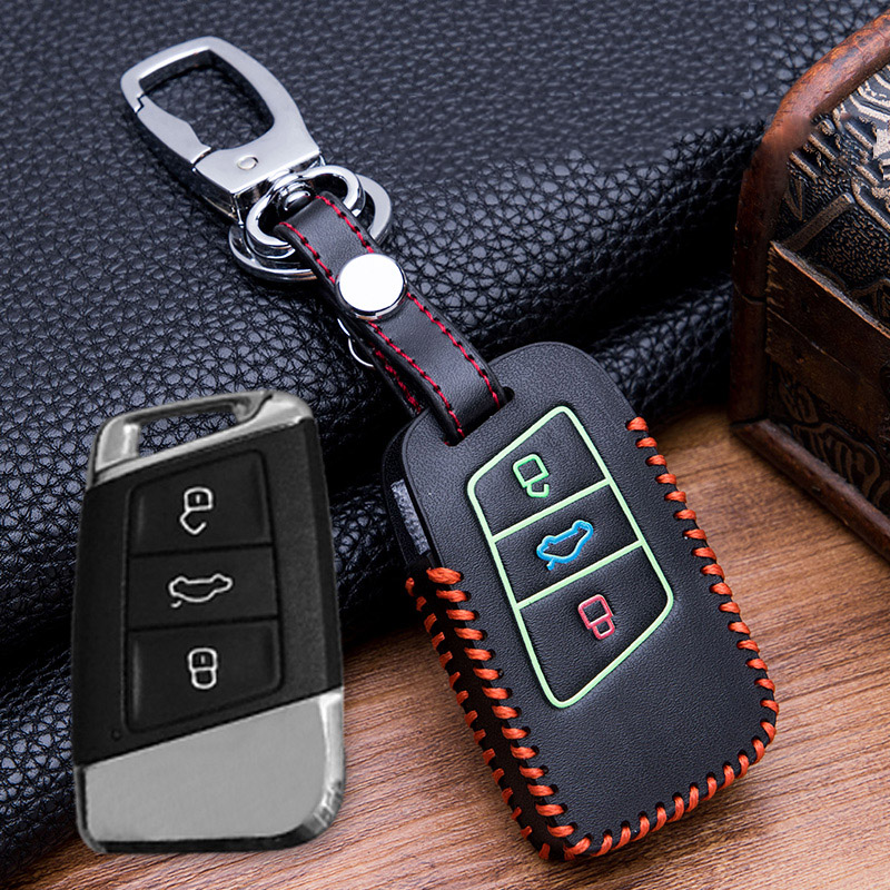 Image 2 - Hand sewing Luminous Leather key fob case holder for VW Skoda Superb Magotan Passat B8 A7 Golf Smart Remote Protector Skin Cover-in Key Case for Car from Automobiles & Motorcycles