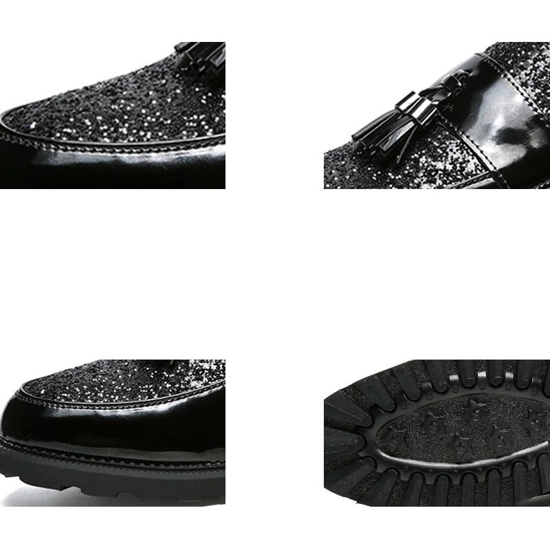 Ngouxm Borla Deslizamento Clássico Mens Couro Primavera Patente Mocassins Em Planas Casuais Preto Outono Homens Brilhante Sapatos XqFRXrw