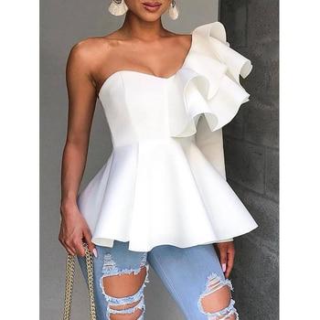 цена на One Shoulder Zipper Up Peplum Ruffle Tops Women One Long Sleeve White Blouse Shirt Elegant Ladies Party Blouse Summer 2019