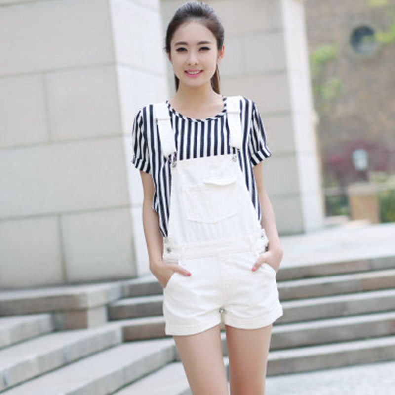 Free Shipping 2020 New Fashion White Lady Shorts Romper Pants For Women High Quality Denim Jeans Loose Jumpsuits S to XL Summer