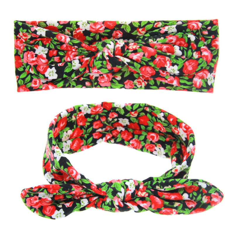 1PC Fashion Cute Girls Unisex Floral Headband Rabbit Cotton Hair Bands Bow Knot Turban Hollwoeen Headwrap Accessories 1 pc women fashion elastic stretch plain rabbit bow style hair band headband turban hairband hair accessories