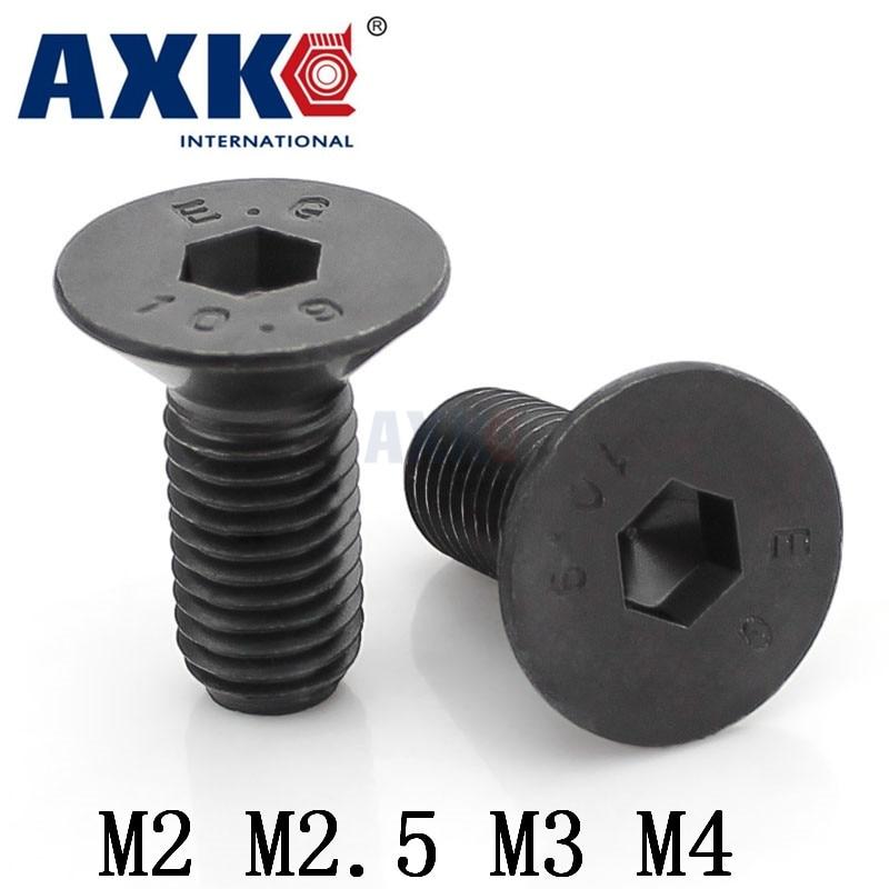 Axk 50pcs Din965 M2 M2.5 M3 M4 Black Phillips Cross Socket Countersunk Heasd Screw цены онлайн