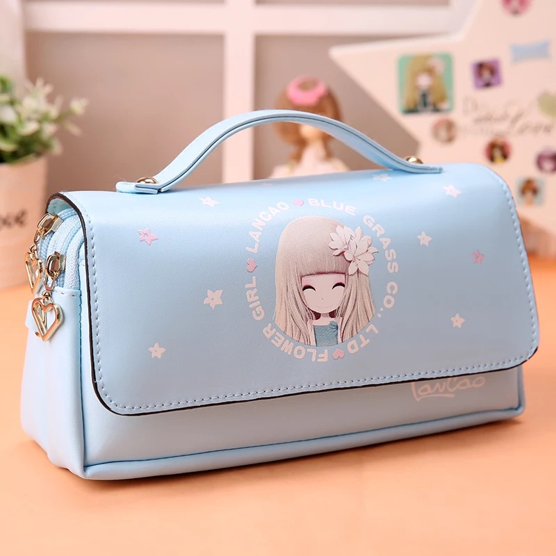 Korea cute student pencil box flower girls large capacity leather pencil bag pouch pen case school kawaii pencil cases for girls big capacity high quality canvas shark double layers pen pencil holder makeup case bag for school student with combination coded lock
