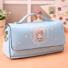 Buy Korea cute student pencil box flower girls large capacity leather pencil bag pouch pen case school kawaii pencil cases for girls directly from merchant!