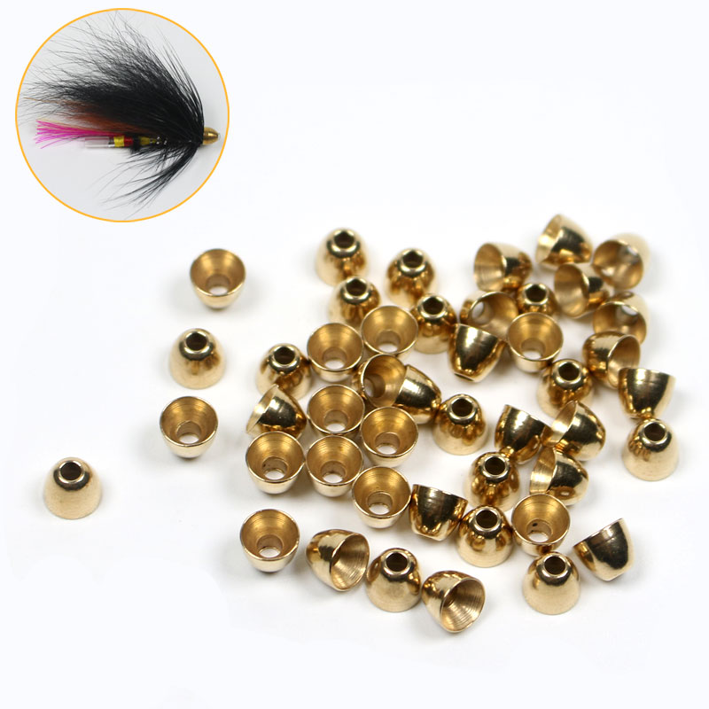 30PCS Brass Cone Head for Tube Fly, Woolly Buggers, Streamers, Muddler Minnows or Saltwater Flies Tying Material Lure Making